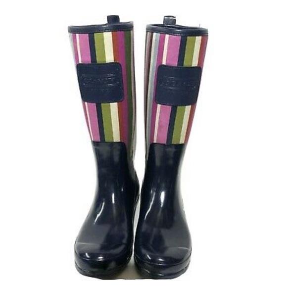 Coach striped rain boots, SZ 8